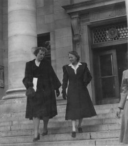 p349 - Emmy Wood (right) and newly-divorced descend the courthouse steps, 1948.