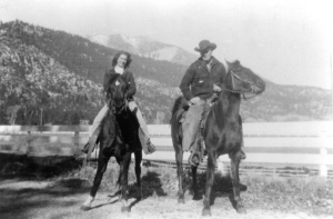 Bill McGee and a divorce seeker on a trail ride at the Flying M E. 1948